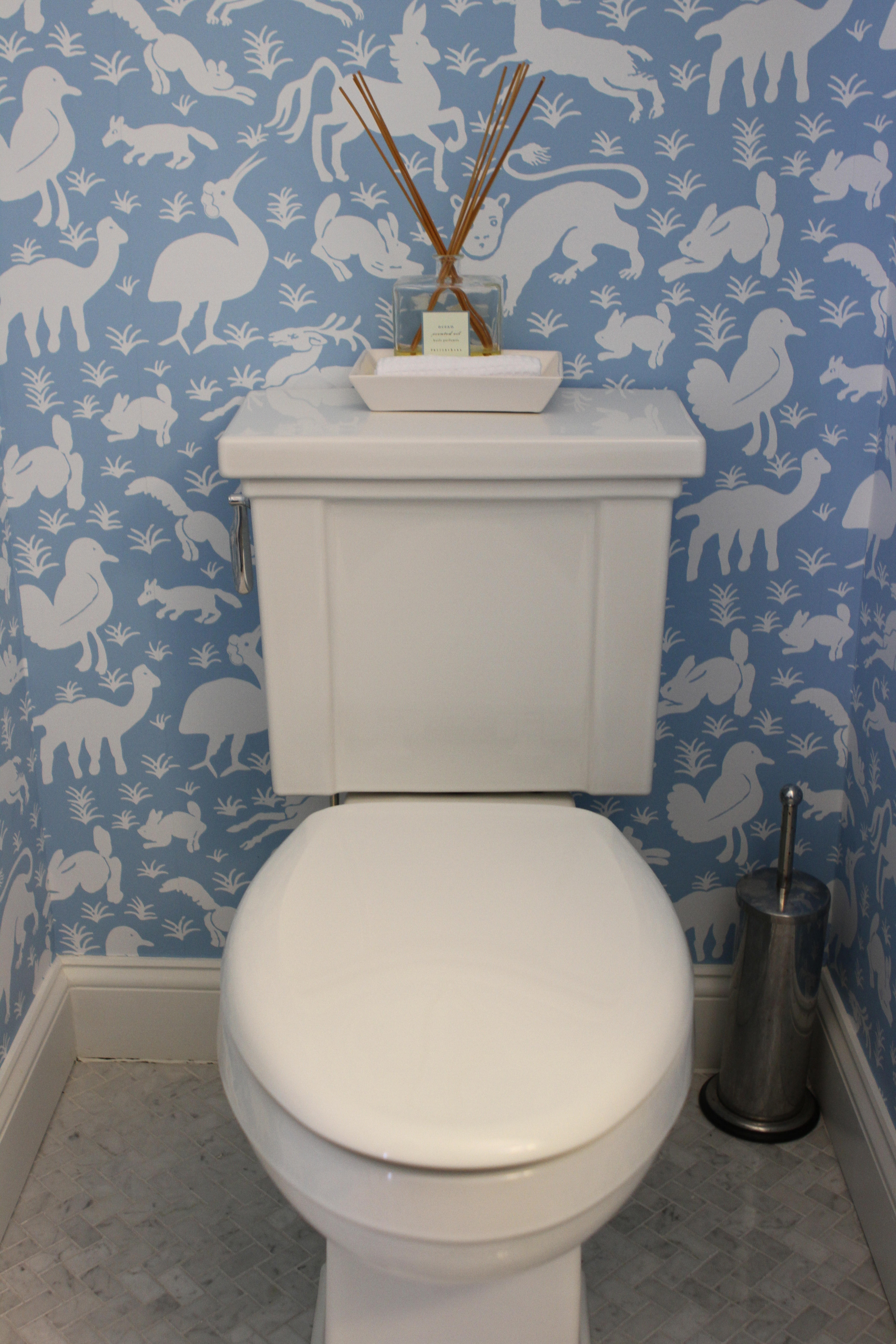 Chic Fun Wallpaper Powder Room Along Came Ollie